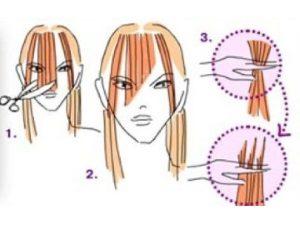 Этапы выстригания косой челки