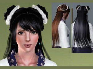 Прическа в китайском стиле с распущенными волосами