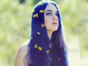 Длинные синие волосы