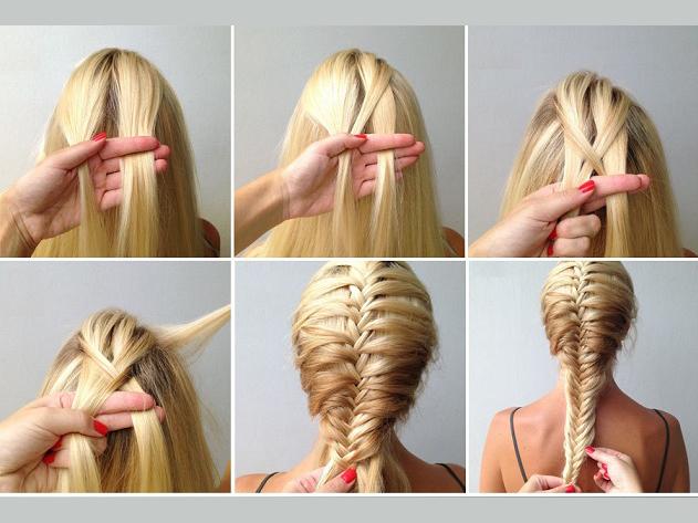 Этапы плетения косы русалки