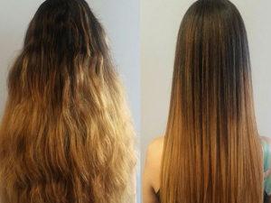 Красивое кератиновое выпрямление волос