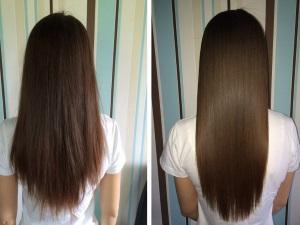 Сравнение волос до и после процедуры