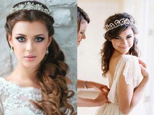 Свадебная прическа с диадемой-короной