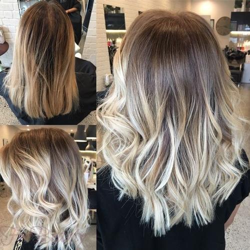 Окрашивание средних волос по длинне