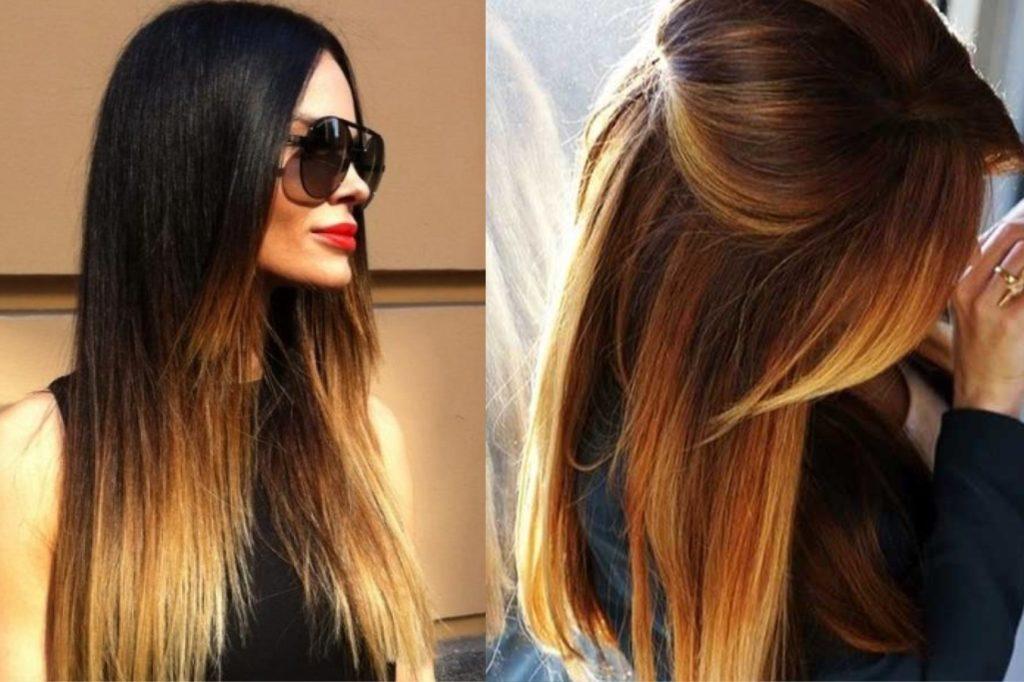 Окрашенные длинные темные волосы