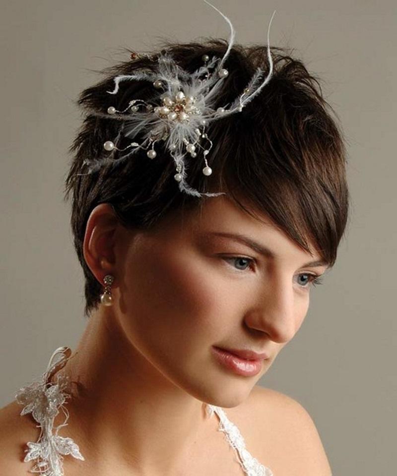 Декоративный крабик в коротких волосах